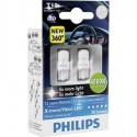 Set 2 Becuri auto auxiliare cu LED Philips Xtreme Vision W5W, 12V, 1W, 4000K