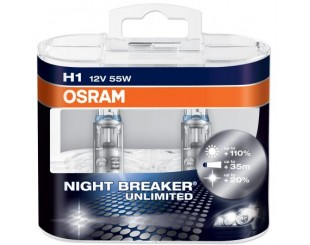 Bec Far Osram Nihgt Breaker Unlimited H1 12V/55W +110% 2 bucati